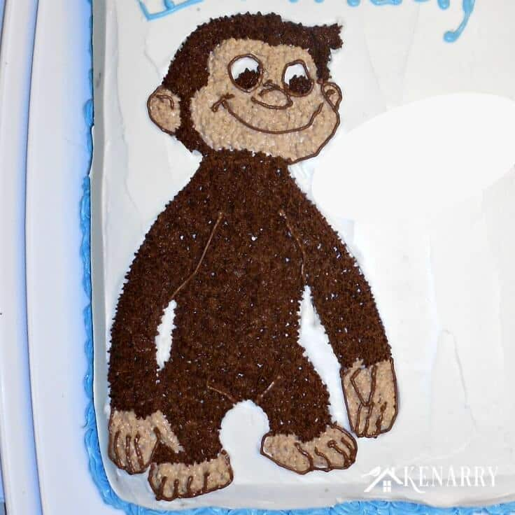 A close up of the Curious George you can make out of frosting for a birthday cake
