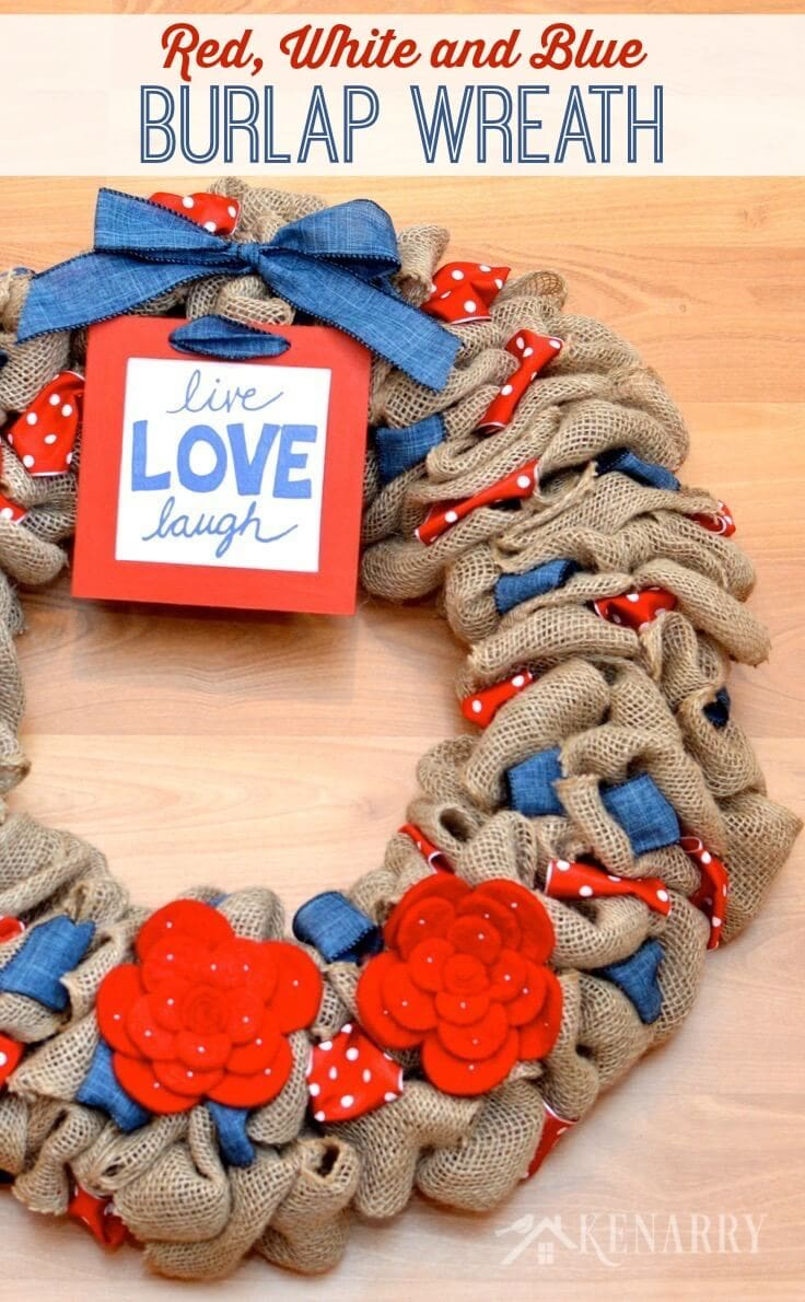 What a cute red, white and blue burlap wreath! It would be great patriotic home decor for 4th of July, Memorial Day and Labor Day.