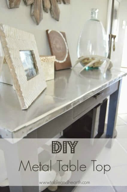 DIY Metal Table Top - Table and Hearth featured on Ideas for the Home by Kenarry®