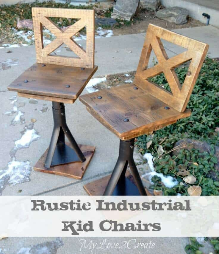 Rustic Industrial Kid Chairs - My Love 2 Create featured on Ideas for the Home by Kenarry®