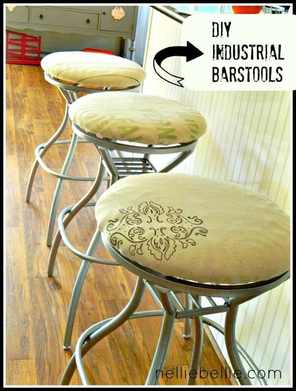 Before/After Industrial Barstools - Nellie Bellie featured on Ideas for the Home by Kenarry®