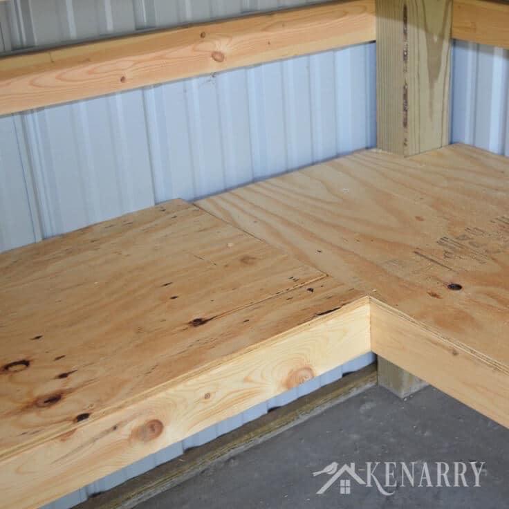 Build A Cheap Garage Storage Shelf: DIY Corner Shelves For Garage Or Pole Barn Storage