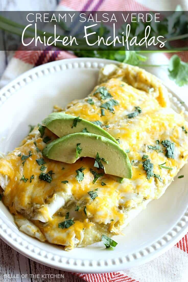 These Salsa Verde Chicken Enchiladas are made with a creamy and ...