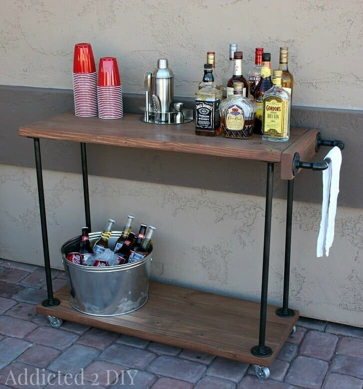 DIY Rustic Industrial Bar Cart - Addicted 2 DIY featured on Ideas for the Home by Kenarry®