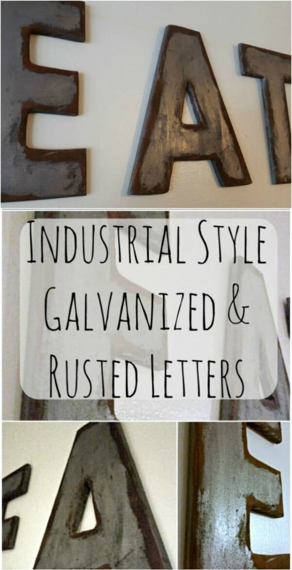 Industrial Style Galvanized and Rusted Letters - My Own Home featured on Ideas for the Home by Kenarry®