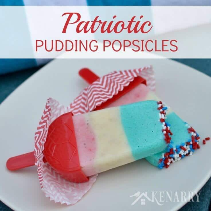 The kids will love these Patriotic Pudding Popsicles made with bananas, Greek yogurt and strawberries! They'd be perfect for 4th of July, Memorial Day, Labor Day or a mid-summer poolside treat.