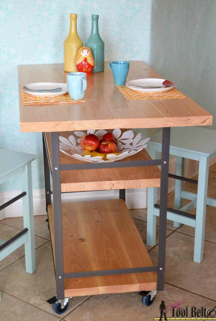 Rolling Island + Counter Table - Her Tool Belt featured on Ideas for the Home by Kenarry®