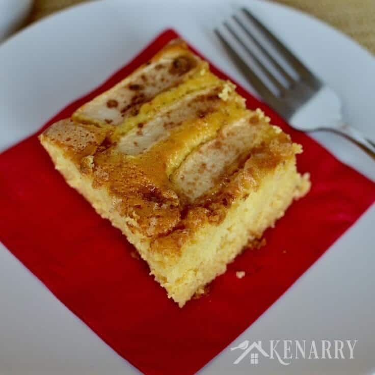 caramel apple coffee cake served on a plate