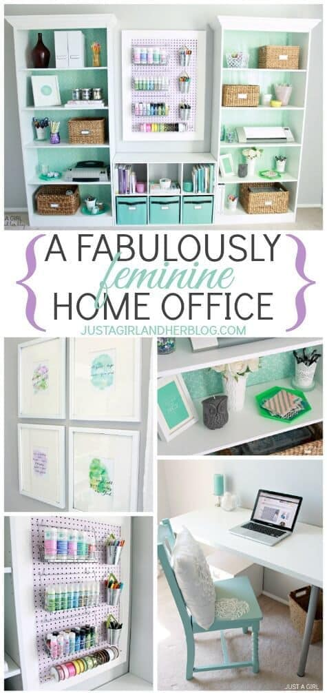 Fabulously Feminine Home Office Makeover - Just a Girl and Her Blog featured in the Summer Spotlight