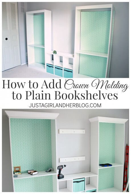 How to Add Crown Moulding to Plain Bookshelves - Just a Girl and Her Blog featured in the Summer Spotlight