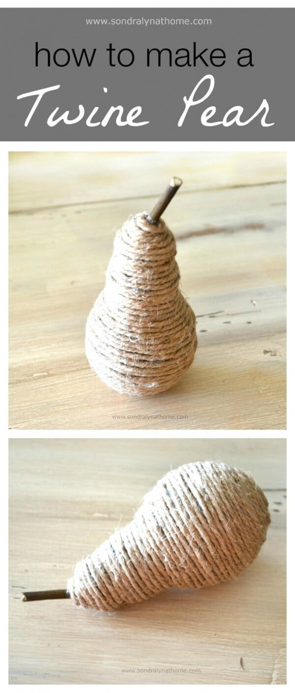 How to Make a Twine Pear - Sondra Lyn at Home featured on Ideas for the Home by Kenarry®