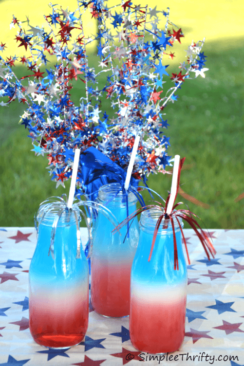 Patriotic Red White and Blue Layered Drink - Simplee Thrifty featured at Ideas for the Home by Kenarry®
