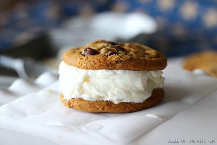 cookies with vanilla ice cream to make an ice cream sandwich