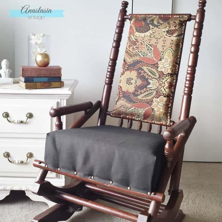 antique vintage platform rocking chair upholstered restored wood gel stain - Antique Rocking Chair Restoration: Broken To Beautiful