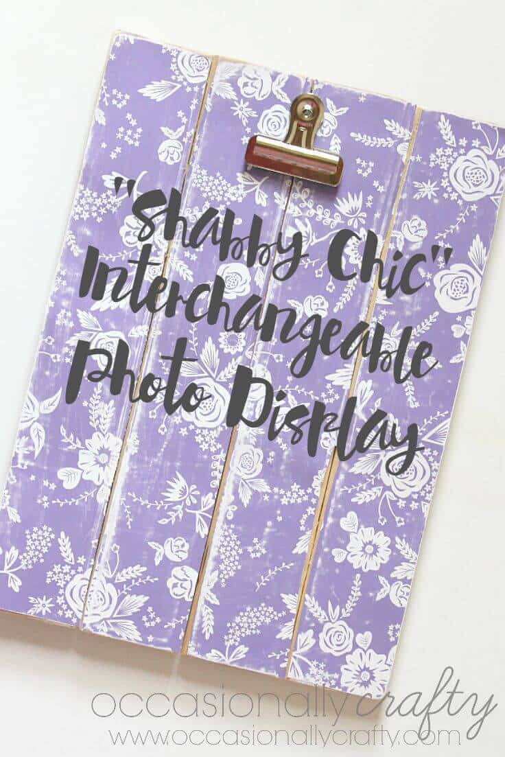 Shabby Chic Interchangeable Photo Display - a great craft idea using slat board and scrapbook paper