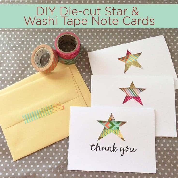 DIY Die-cut Star and Washi Tape Note Cards