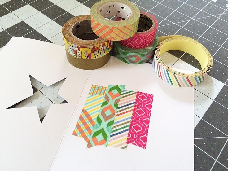 Washi tape used on note cards to fill in open star die-cut shape