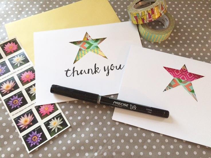 Die-cut star note cards with washi tape
