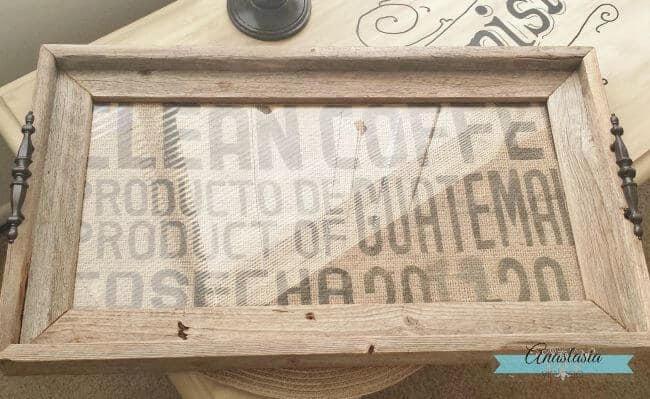 repurposed burlap coffee sack driftwood serving tray