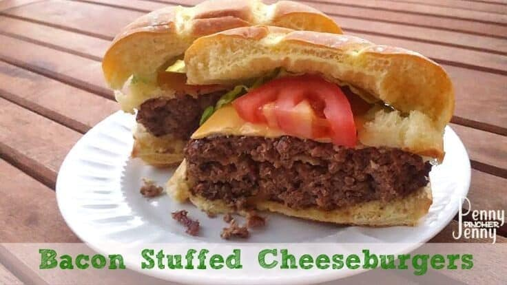 Bacon Stuffed Cheeseburgers - Penny Pincher Jenny featured on Ideas for the Home by Kenarry®