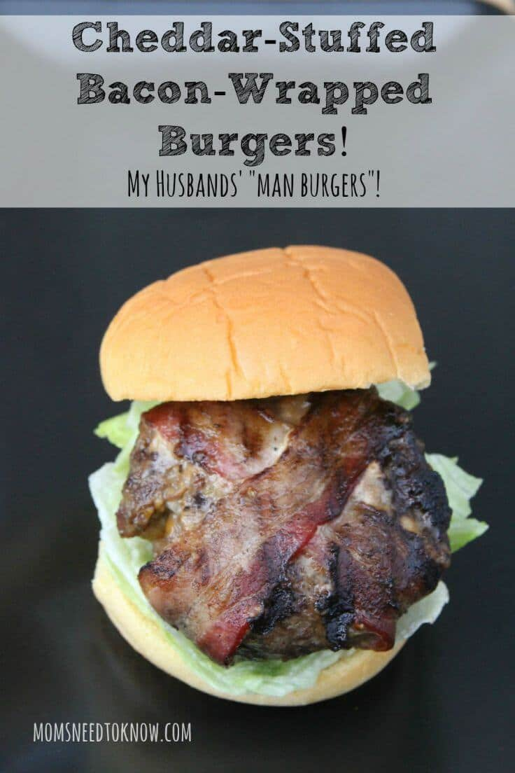 Bacon Wrapped Cheddar Stuffed Burgers - Moms Need to Know featured at Ideas for the Home by Kenarry®