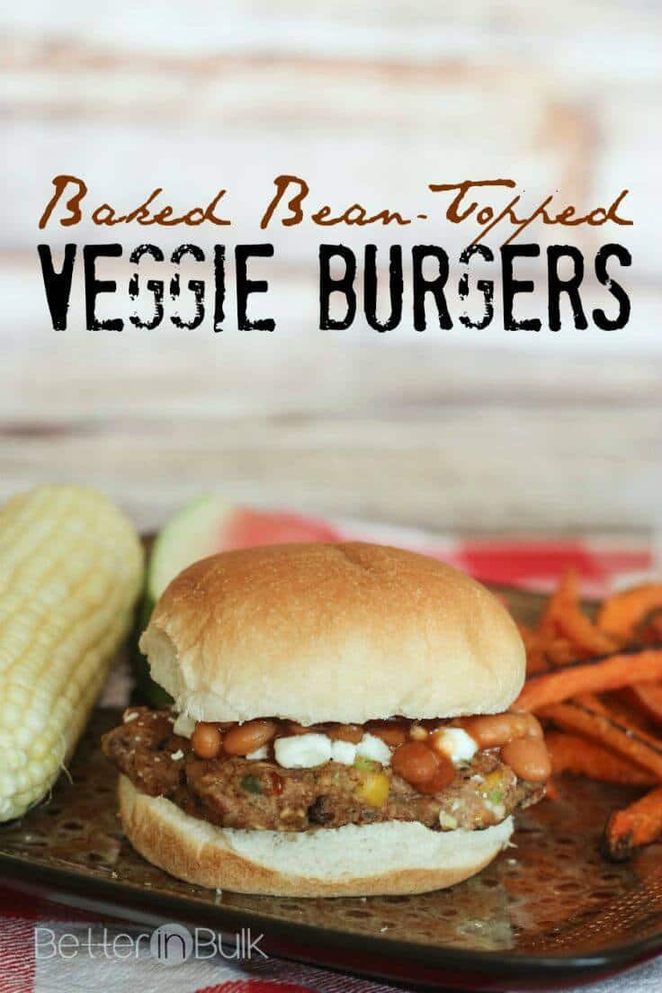Baked Bean Topped Veggie Burgers - Better in Bulk featured on Ideas for the Home by Kenarry®