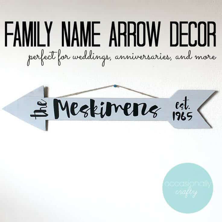 Family name arrow decor - perfect for weddings, anniversaries and more.
