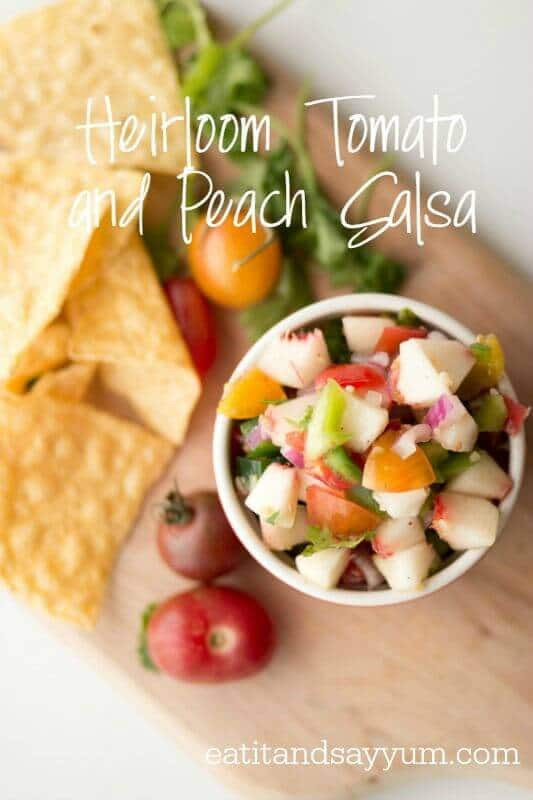 Heirloom Tomato and Peach Salsa – Eat It and Say Yum featured on Kenarry.com