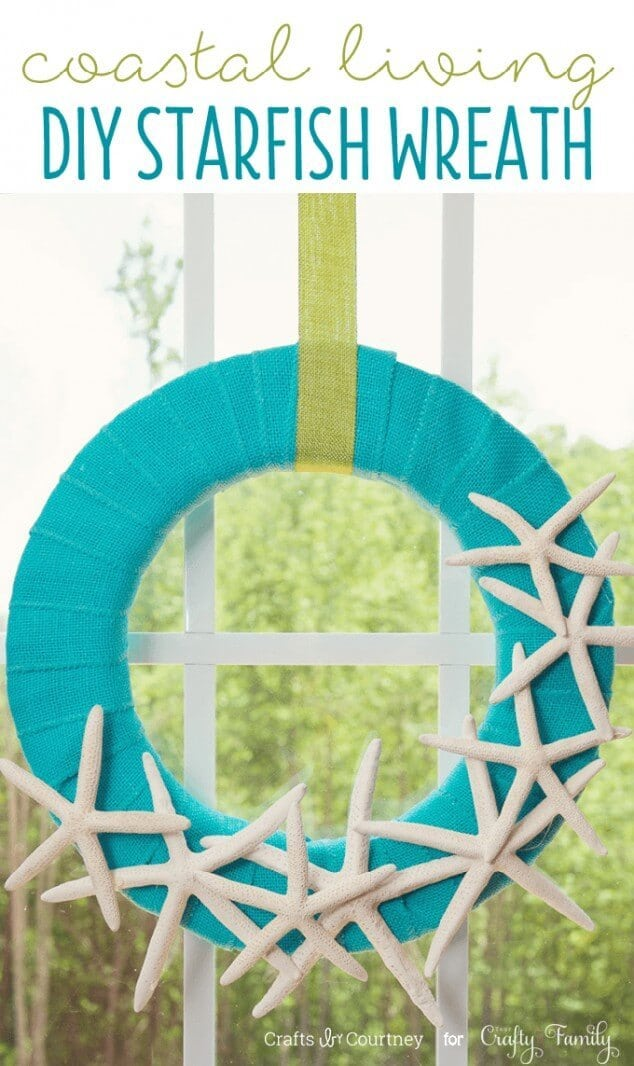 Coastal Living Inspired DIY Wreath from Crafts By Courtney featured in the Summer Spotlight