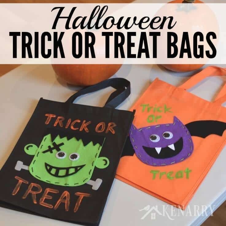 These Halloween Trick or Treat Bags made with felt are such a cute idea! Plus they're sturdy enough to hold lots of Halloween candy as the kids go door-to-door.