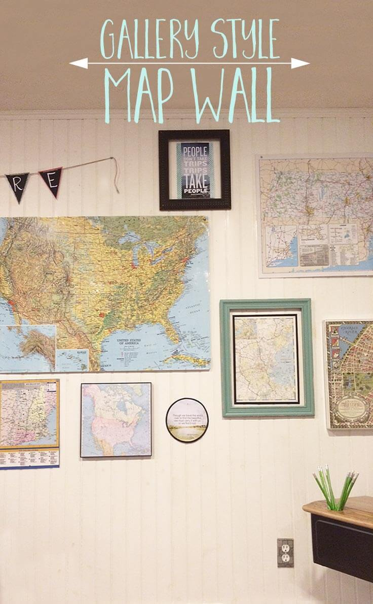 Create a gallery style map wall that's inexpensive, meaningful and educational.