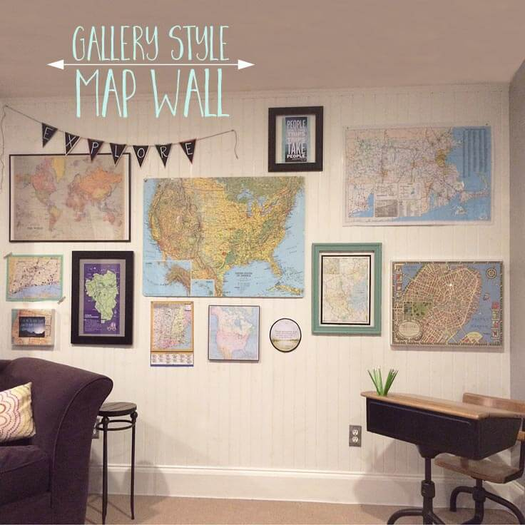 create a gallery style wall with map art and quotes