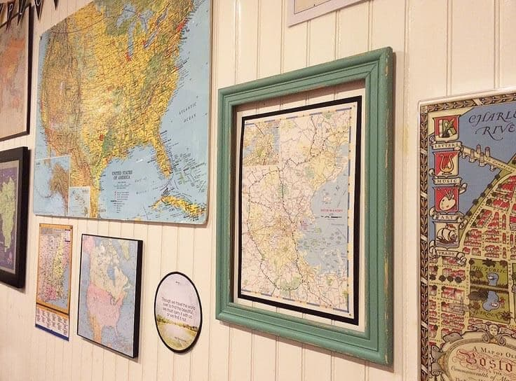 Detail of maps for gallery wall
