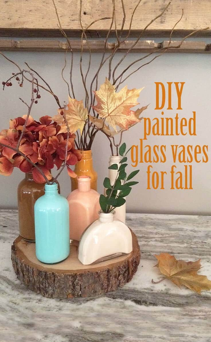 DIY painted glass vases for a fall centerpiece.