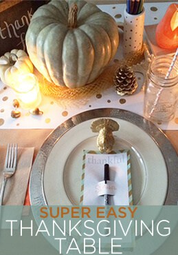 thanksgiving table using gourds and natural objects and colors