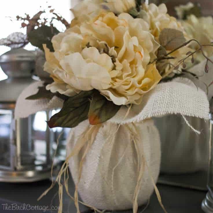 DIY Fall Burlap Floral Centerpiece