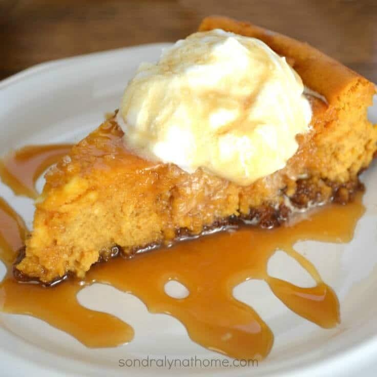 Pumpkin Cheesecake with Salted Caramel Sauce----Sondra Lyn atHome.com
