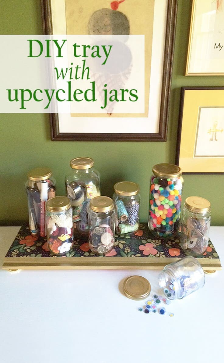 DIY tray with wood, gold knobs and decorative paper to hold craft supplies