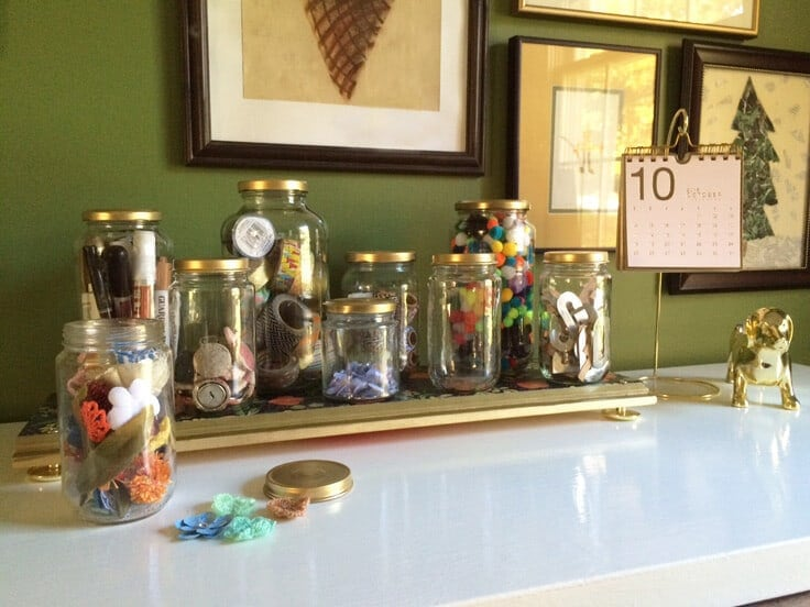 DIY tray with gold knobs and decorative paper