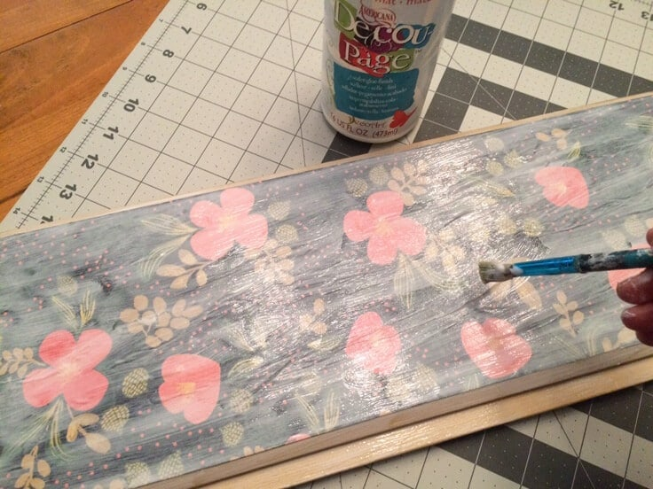 decoupage glue to apply paper to wood tray