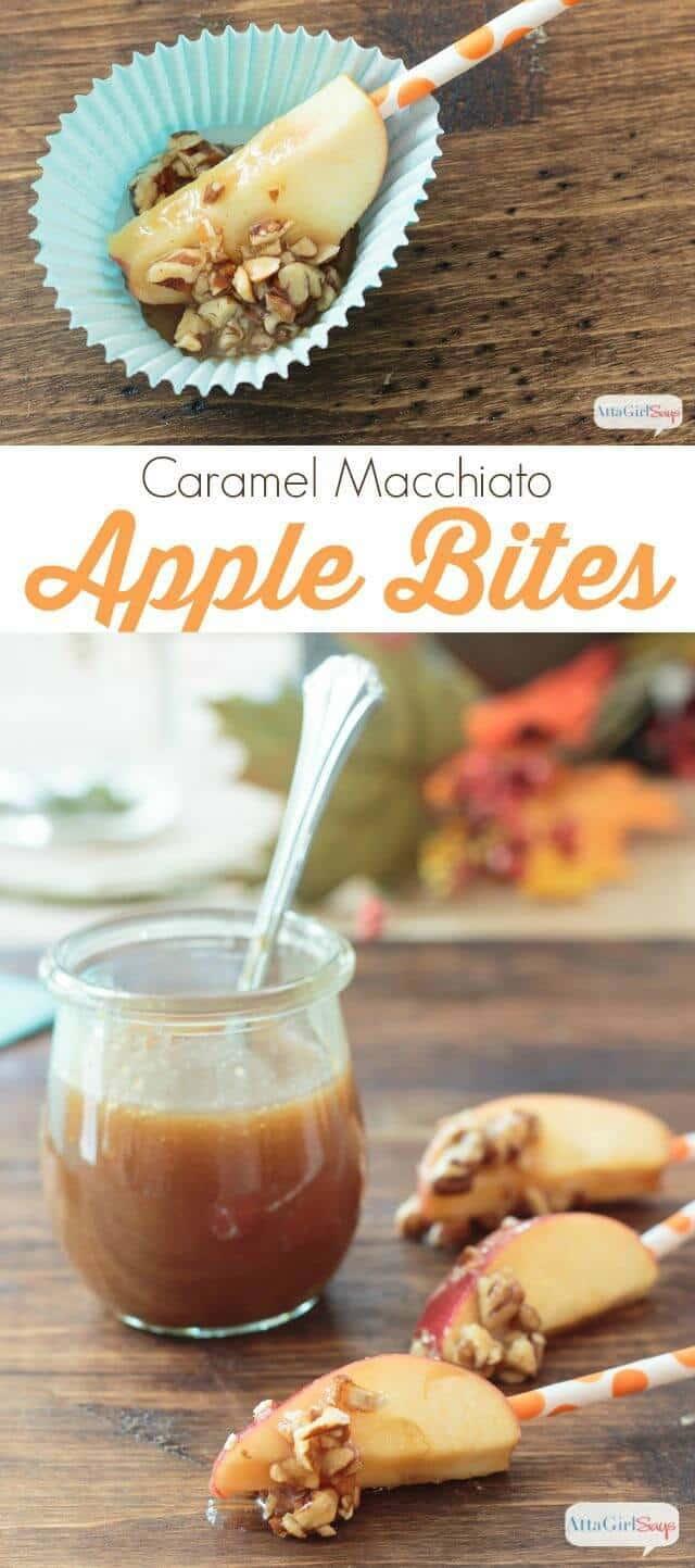 Caramel Macchiato Apple Bites with Homemade Caramel Sauce - AttaGirl Says - Caramel Apple Dessert Ideas: 20 Delicious Recipes featured on Kenarry.com