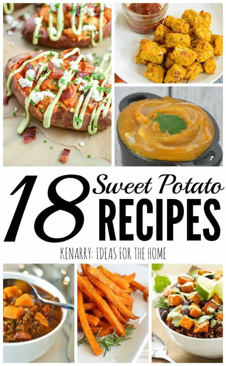 Sweet potato recipes including side dishes, main dishes, sweet potato fries, sweet potato soup and other creative dinner ideas. Some would be great to serve at Thanksgiving!