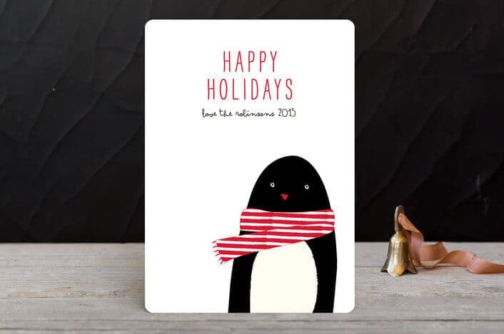cozy penguin holiday cards - Minted.com - Holiday Card Checklist and Tips on Kenarry.com