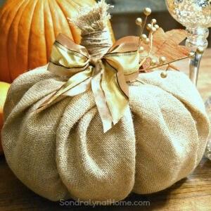 Make a Burlap Pumpkin - Sondra Lyn at Home 300x300