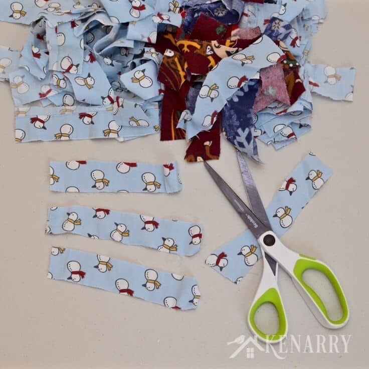 Upcycle old pajama pants or use scraps of colorful fabric to create a fun, festive and easy Christmas wreath plus more handmade gift ideas for the holidays.