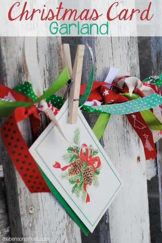 Christmas Card Garland – One Artsy Mama - 18 Ideas for Displaying Christmas Cards on Kenarry.com