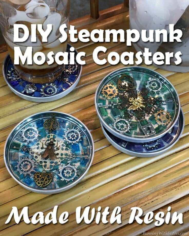 Make Steampunk Mosaic Coasters using clear resin. Learn how to mix and pour resin to show off your steampunk mosaic!