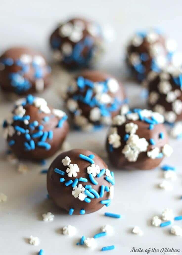 Chocolate cake balls with snowflake sprinkles