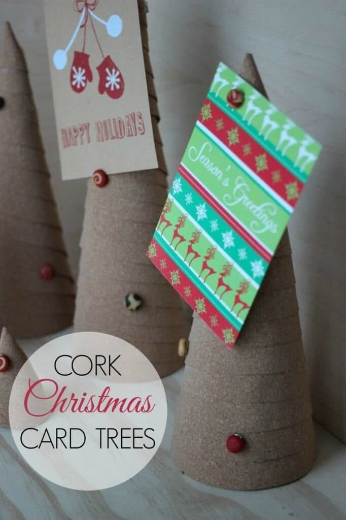 Cork Christmas Card Trees – Love Create Celebrate - 18 Ideas for Displaying Christmas Cards on Kenarry.com