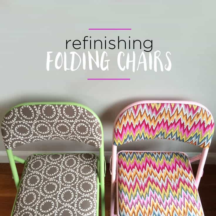 refinishing folding chairs with fun fabric and spray paint